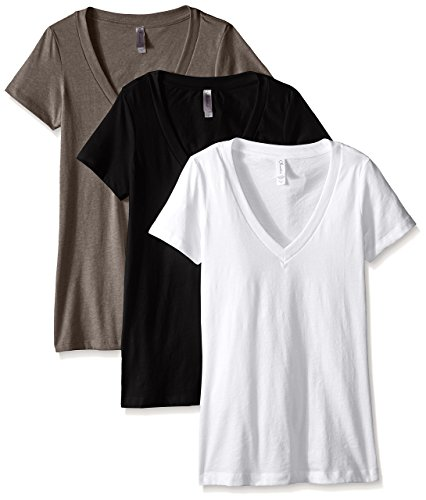 Clementine Apparel Women's Deep V Neck Tee (Pack of 3), Black/White/Warm Grey, Small