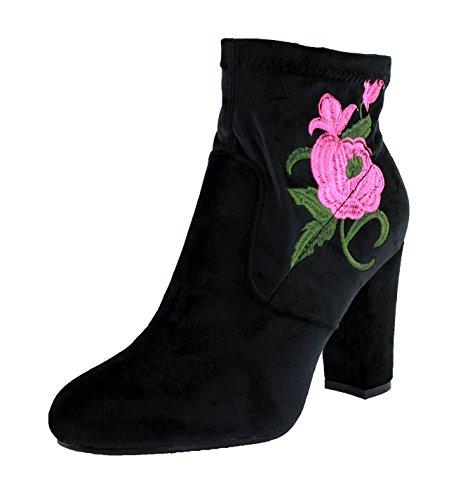 Chaussures De Fleur Haut Zip Dames Des Talon Mode Femmes Bloc Larena Sport Noir Bottines Nouvelles HPgUfaq