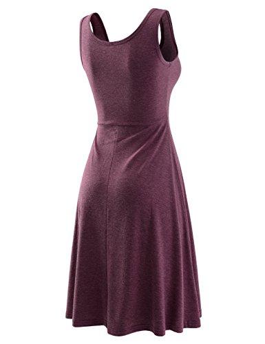 Sleeveless Figure Nknkwmd735 wine Hugging Floral Pattern NEARKIN Neck Womens U Dress cOz7TOP0H