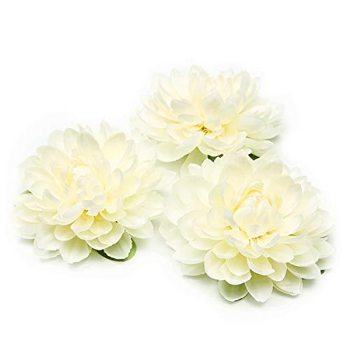 - Romanly 1Pcs 11CM Silk Dahlia Artificial Flower Daisy Flower Head Wedding Home Decoration DIY Flower Wall Headdress Brooch Milky White