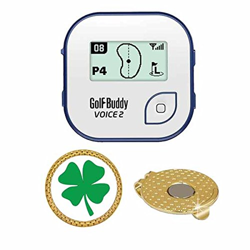 GolfBuddy Voice 2 Golf GPS/Rangefinder (40k+ Preloaded Worldwide Courses) Bundle with Magnetic Hat Clip Ball Marker (Four Leaf Clover)
