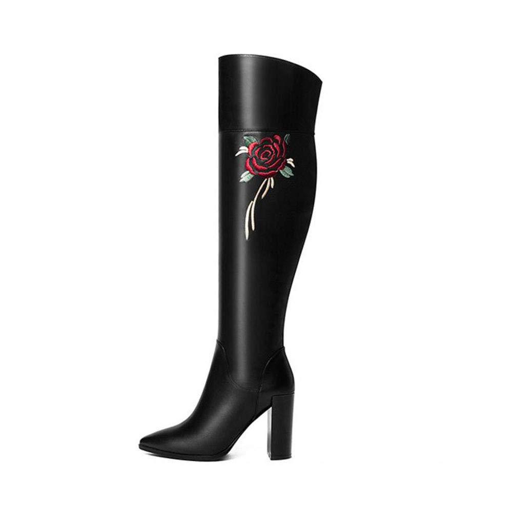 edea33b9914b3 Amazon.com: YaXuan Women's Over-Knee Boots, Thick Heel Leather Over ...
