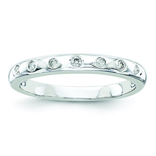 Sterling Silver Round Cut 0.1ct H-SI2 Diamond Wedding Band Size 8 0.1 Ct Diamond Bezel