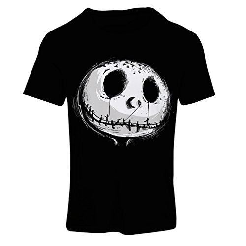 lepni.me T Shirts for Women Scary Skull Face - Nightmare - Halloween Outfit Party Costumes (Medium Black Multi Color)]()