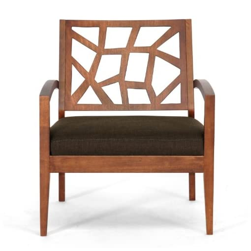 Farmhouse Accent Chairs Baxton Studio Jennifer Modern Lounge Chair with Dark Brown Fabric Seat farmhouse accent chairs