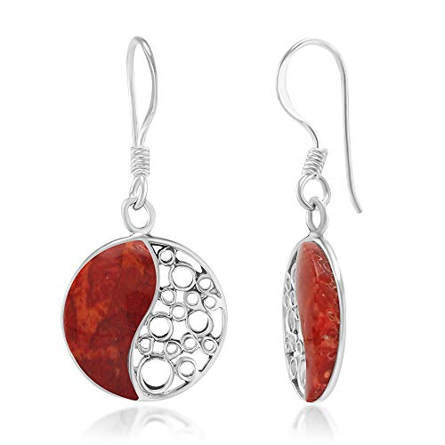 925 Sterling Silver Red Bamboo Coral Inlay Yin Yang Dangle Hook Earrings