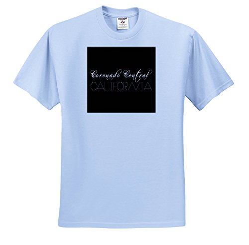 Coronado 12 Light (3dRose Alexis Design - American Beaches - American Beaches - Coronado Central Beach, California, White On Black - T-Shirts - Youth Light-Blue-T-Shirt Med(10-12) (TS_271491_61))