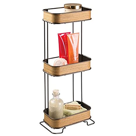 mDesign Repisa para baño autoportante de metal y madera - Estanteria para ducha y baño - Baldas para ...
