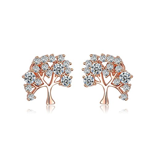 Redbarry Flurishing Tree Design 18k Rose Gold Plated Multi-size Round CZ Paved Stud Earrings