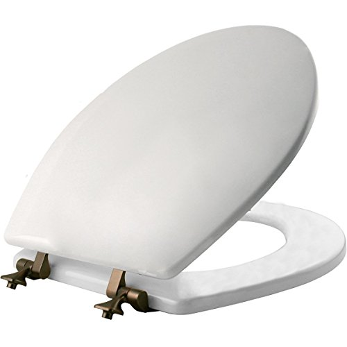 MAYFAIR Toilet Seat with Oil Rubbed Bronze Hinges will Never Come Loose, ROUND Durable Enameled Wood, White, 44ORA