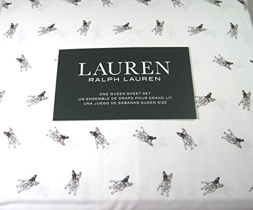Ralph Lauren Dog - Lauren 4 Piece Queen Size Sheet Set Boston Terrier Dogs 100% Cotton