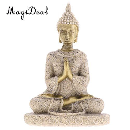 (Viet JK Garden - The Hue Sandstone Meditation Buddha Statue Sculpture Hand Carved Figurine Statue Home Decoration 1 PCs)