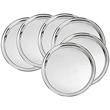 King International Stainless Steel Quarter Pate | Dinner Plate | Set of 6 Mess Trays Great  sc 1 st  Amazon.com & Amazon.com | King International Stainless Steel Quarter Pate ...