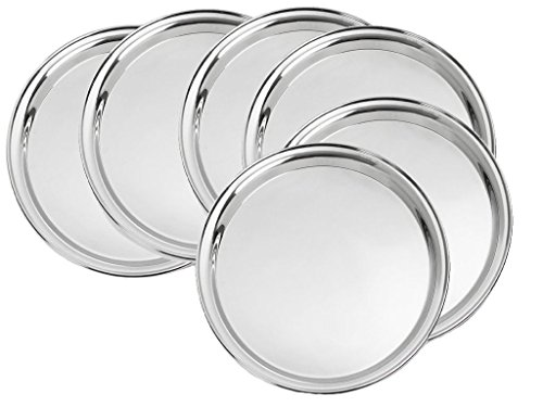 King International Stainless Steel Quarter Pate | Dinner Plate | Set of 6 Mess Trays Great for Camping | 19.5 cm Great for Birthday, Sympathy, Family Parties & Movie Night or as a Corporate Tray