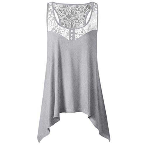ELECTRI Femmes t Mousseline Casual Robes Cocktail Blouse Tunique Chiffon Mini Dress sans Manches en Dentelle Sexy Robe Femme ete Chic Gris