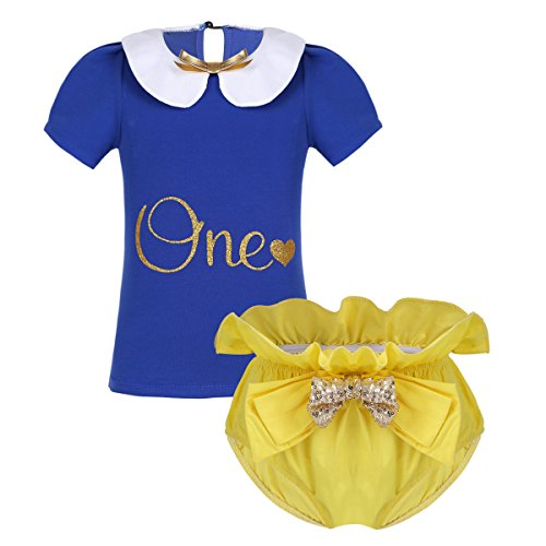 - MSemis Infant Baby Girls Perter Pan Collar Gold One Letter Print Outfits Set Top Shirt with Bloomers Costume Yellow&Blue 6-12 Months