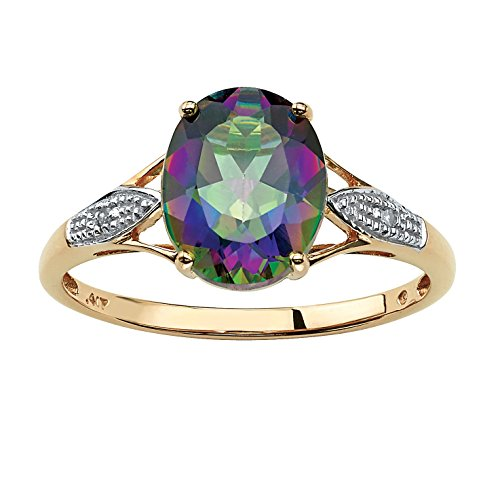 - Genuine Oval-Cut Mystic Fire Topaz and Diamond Accent 10k Yellow Gold Ring