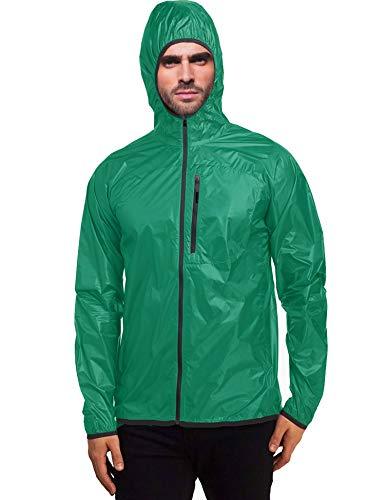 Daupanzees Unisex Lightweight Hooded Waterproof Running Cycling Rain Jacket Outdoor Raincoat Green