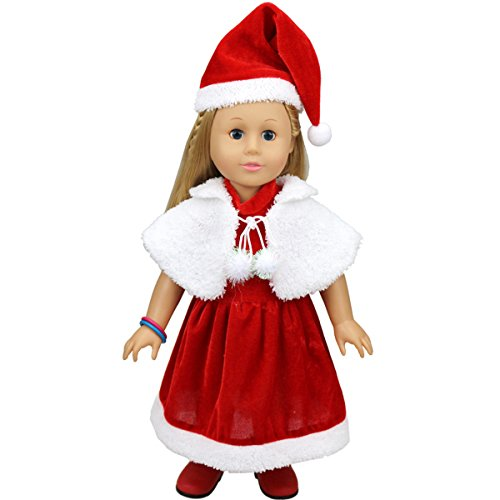 [HappyBB Baby Doll Christmas Series Clothes Fits 16 to 18 inches American Girl Doll - Red Christmas Dress & White Cloak & Christmas] (2pc Child Cheerleader Costumes)