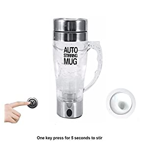 Mengshen Self Stirring Glass Mug - Multipurpose Mixer Auto Stir Coffee Tea Cup Portable Electric Stainless Steel Transparent, A034