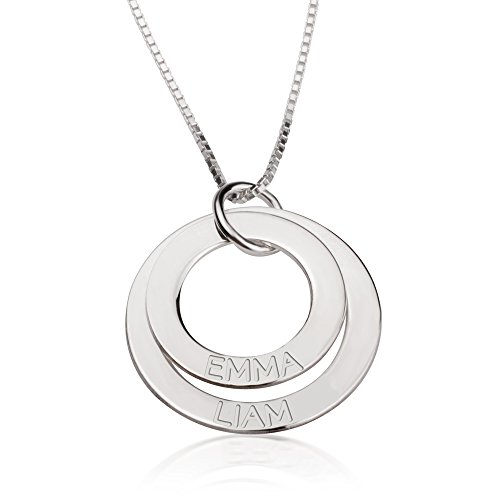 Engraved Disc - oNecklace - Sterling Silver Mother/Grandmother Necklace with Engraved Kids Names 2-5 Discs (2 Disks)