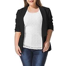 Allegra K Women Plus Size 3/4 Sleeves Ruched Cuffs Blazer