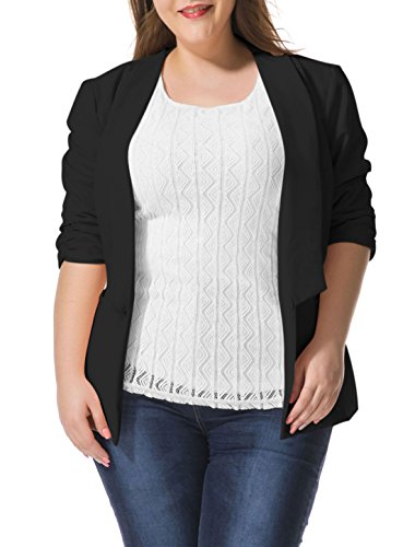 Alya Women Plus Size 3/4 Sleeves Turn Down Collar Blazer Black 1X