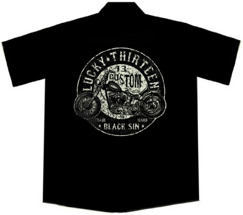 (Lucky 13 Custom Motorcycle Biker Work Shirt, Black Sin (XL))