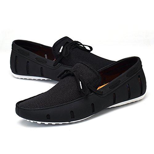 Aleader Mens Lace-up Loafers Swim Shoes Black/White 10.5 D(M) US