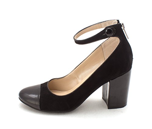 Round Womens Pumps Stuwart Strap Toe Black Classic Fabric Ankle Unisa 7ZqREx7g