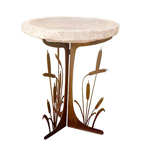 Stone Age Creations BB-CT-GLD Cattails Silhouette Birdbath, Gold Top Review