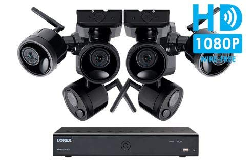 Lorex Wireless Camera System, with 6 HD Rechargeable Wire Free Cameras, 95' Night Vision, 2-Way...