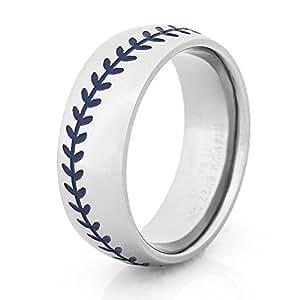 s titanium baseball wedding ring with blue stitching