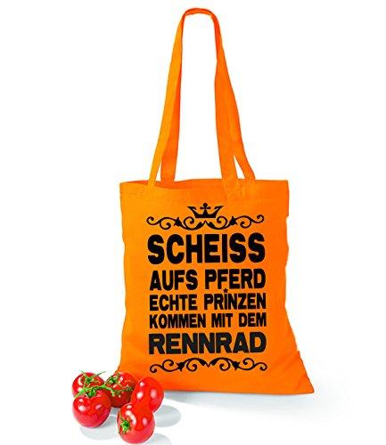 Artdiktat Baumwolltasche Scheiß auf´s Pferd - Echte Prinzen kommen mit dem Rennrad yellow orange