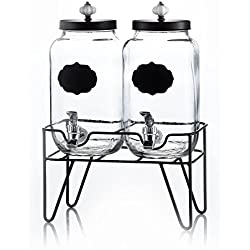"Style Setter Manchester Beverage Dispensers with Stand & Ceramic Knob (Set of 2), 3 Gallons Each, 15 x 8 x 15"", Clear"