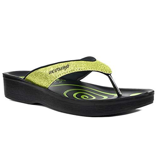 Aerosoft Gliteratti Orthotic Soft Open-Toe Comfortable flip-Flop Sandals (US Women 9, Green)