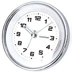 Sweetheart Waterproof Suction Padded Wall Clock for Kitchen, Bathroom, Shower, 4.9 inch, Chrome Clear, Small