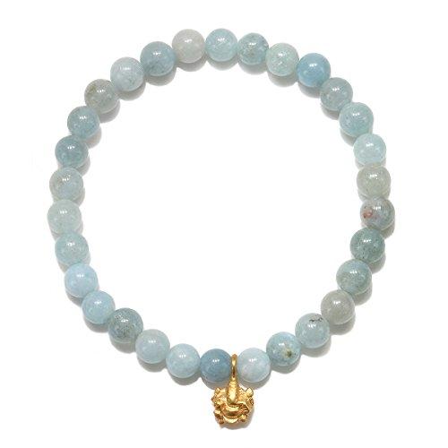 - Satya Jewelry Womens Aquamarine Gold Ganesha Stretch Bracelet, Blue, One Size