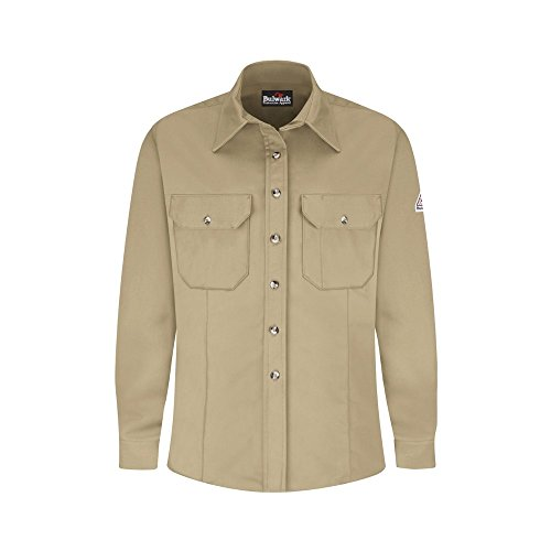(Bulwark Flame Resistant 7 oz Cotton/Nylon ComforTouch Tailored Dress Uniform Shirt, Khaki, Medium)