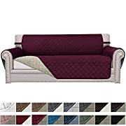 Easy-Going Sofa Slipcover Reversible Sofa Cover Furniture Protector Couch Cover Elastic Straps Pets Kids Children Dog Cat(Sofa, Wine/Beige)