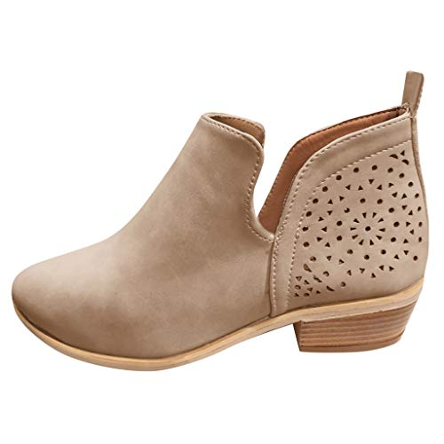 LIM&Shop ⭐ Ankle Boot for Women Slip On Loafer Pointed Toe Chunky Block Low Heel Office Dress Casual Shoes Cutout Bootie Khaki