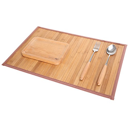 Marscool Placemat for Kitchen Table,Bamboo Placemat Stain-Resistant,Heat-Resistant Placemats Set of 4,Natural Bamboo Material,Table Mats and Dine Mats for Dining Table,Four Model Choices(Original) by Marscool (Image #1)