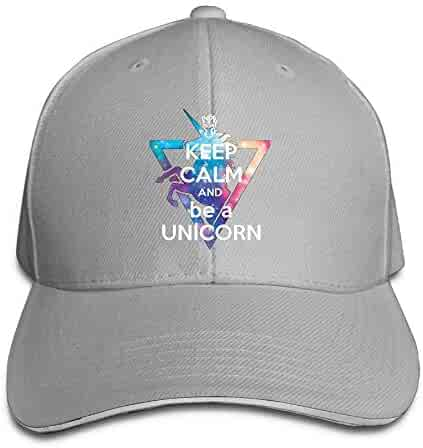 Keep Calm and Be A Unicorn 1 Men Fashion Adjustable Peaked Cotton Hats Red f3f862decaa7