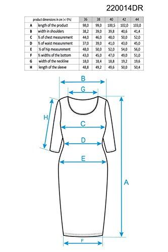Ennywear 220014 Vestido Midi Para Mujeres Liso De Manga 3/4 Y Cuello Cisne - Hecho En La UE azul marino
