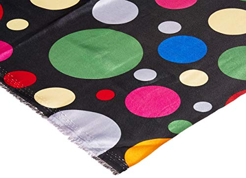 Ben Textiles Charmeuse Satin Large Polka Dots Black/Multi Fabric by The Yard Multicolor ()