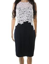 Lauren by Ralph Lauren Women Sheath Floral Lace Crepe Dress