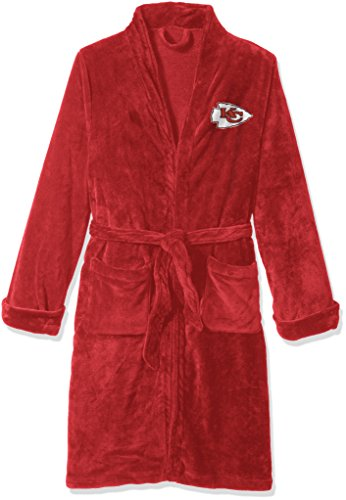 NFL Kansas City Chiefs Men's Silk Touch Lounge Robe, Large/X-Large (Chief Silk)