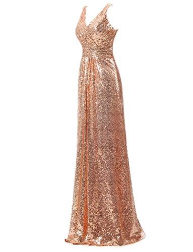 Ysmo 2016de la mujer cuello en V largo de lentejuelas vestido de noche Prom Fiesta de caída Dorado Champagne