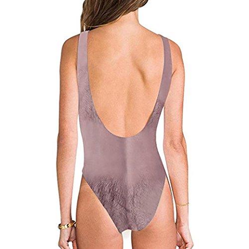 Upxiang Frauen Brust Haar Funny Badeanzug High Cut Badeanzug