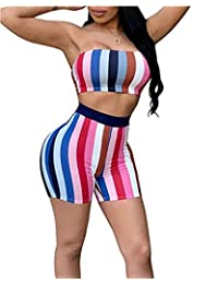 Lesimsam Womens Sexy 2 Piece Outfits Bodycon Stripe Print Sleeveless Tube Top and Shorts Pants Jumpsuit Romper